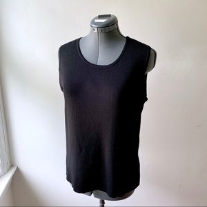 3/$20 Laura Ashley Black Sleeveless Knit Top Solid